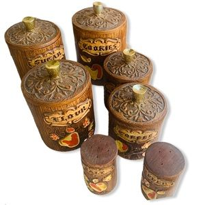 treasure craft handdone wood look ceramic canister